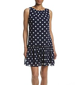 Jessica Howard® Petites' Dot Printed Flared Hem Dress
