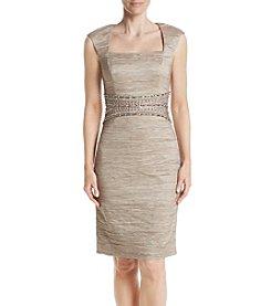Eliza J® Cap Sleeve Crinkle Sheath Dress
