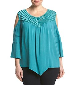 Democracy Plus Size Cold Shoulder Embroidered Top
