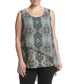 Relativity® Plus Size Printed Double Layer Tank