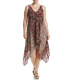 S.L. Fashions Plus Size Printed Hanky Hem Dress