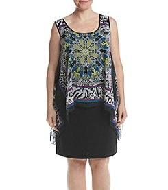 S.L. Fashions Plus Size Printed Popover Dress
