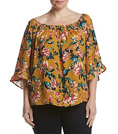 Living Doll® Plus Size Off Shoulder Floral Print Top