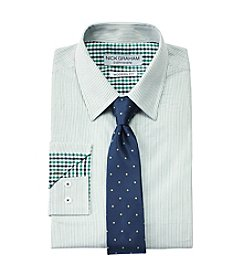 Nick Graham® Green Stripe Dress Shirt and Tie Set