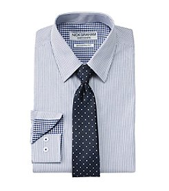 Nick Graham® Blue Stripe Dress Shirt & Tie Set