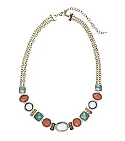 Napier® Faceted Stone Frontal Necklace
