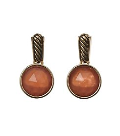 Napier® Rope Etch And Faceted Stone Drop Earrings
