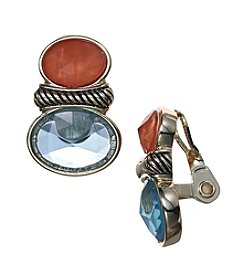 Napier® Oval Stone Clip On Button Earrings