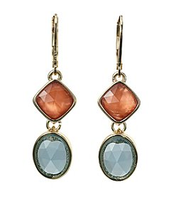Napier® Oval And Square Double Drop Earrings