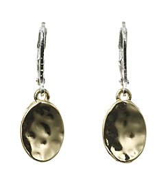 Napier® Two Tone Hammered Oval Drop Earrings