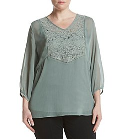 AGB® Plus Size Lace Yoke Blouse