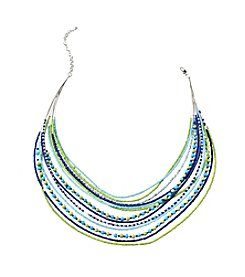 Studio Works® Seed Bead Blue Green Multi Row Necklace
