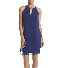 Jessica Howard® Petites' Beaded Strap Asymmetrical Dress