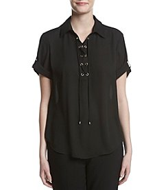 Jones New York® High-Low Lace Up Top