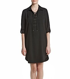 Jones New York® Lace Up Shirt Dress