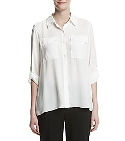 Jones New York® Pleated Back Button Up Shirt