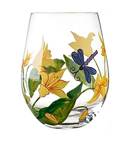 Qualia Lillies Set of 4 Stemless Wine Glasses