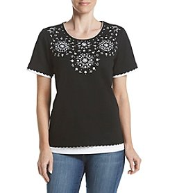 Alfred Dunner® Embroidered Medallion Tee
