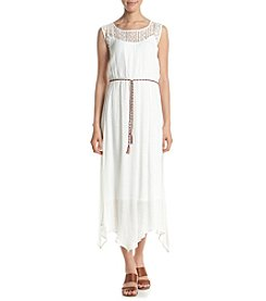 AGB® Gauze Crochet Neckline Dress