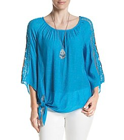 AGB® Tie Front Necklace Crochet Blouse