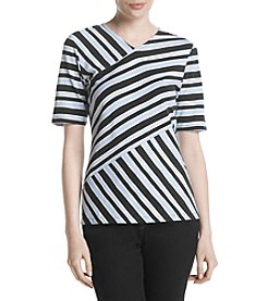 Jones New York® Wedgewood Striped V Neck Shirt