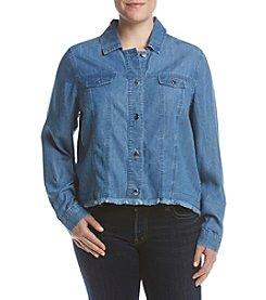 Rafaella® Plus Size Frayed Hem Jacket
