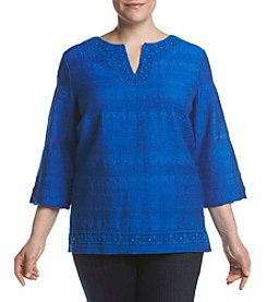 Alfred Dunner® Plus Size Lace Trim Woven Tunic