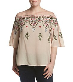 Democracy Plus Size Off Shoulder Floral Border Embroidery