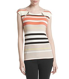 Calvin Klein Zipper Shoulder Striped Top