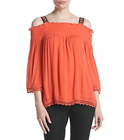 Oneworld® Cold Shoulder Smocked Blouse