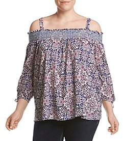 Jessica Simpson Plus Size Off Shoulder Print Crinkle Top