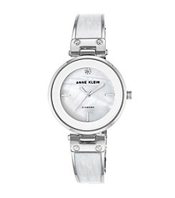 Anne Klein® Diamond Dial White Enamel Bangle Watch