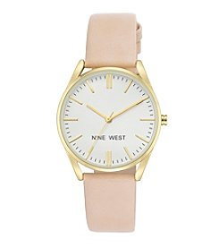 Nine West® Goldtone and Light Pink Strap Watch