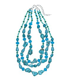 Napier® Multi Row Reconstituted Stone And Glass Bead Necklace