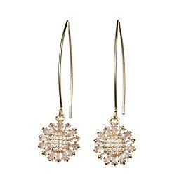 Napier® Cubic Zircona Textured Drop Earrings