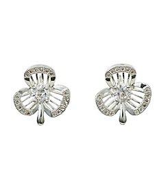 Napier® Cubic Zircona Clover Post Earrings