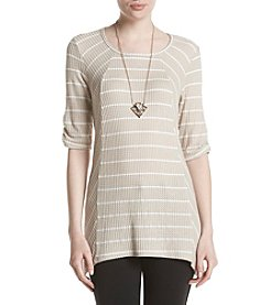 AGB® Elbow Sleeve Striped Knit Top