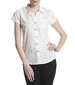 Ruff Hewn Petites' Lattice Shoulder Top