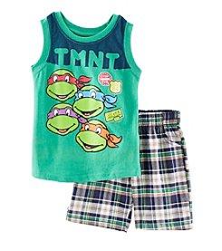 Nannette® Boys' 2T-7 2-Piece Turtle Plaid Shorts Set