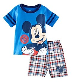 Mickey Mouse® Boys' 2T-7 2-Piece Mickey Plaid Short Set