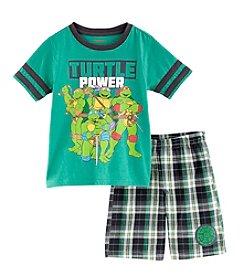 Nannette® Boys' 2T-7 2-Piece Turtle Power Plaid Short Set