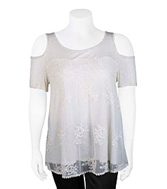 A. Byer Plus Size Cold-Shoulder Lace Top