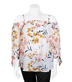 A. Byer Plus Size Floral Off-Shoulder Top