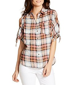 William Rast® Plaid Cold Shoulder Top