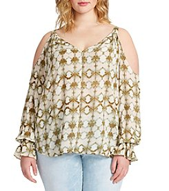 Jessica Simpson Plus Size Cold-Shoulder Peasant Top