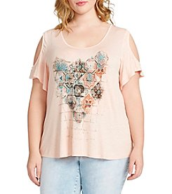 Jessica Simpson Plus Size Cold-Shoulder Mosaic Tee