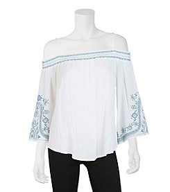 A. Byer Embroidered Off-Shoulder Top