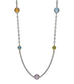 Sterling Silver And 14K Yellow Gold Citrine, Pink Amethyst, Swiss Blue Topaz And Peridot Link Necklace