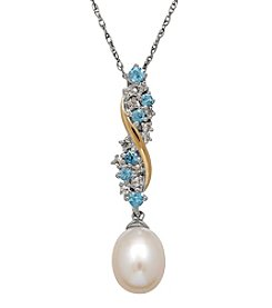 Sterling Silver And 14K Yellow Gold Cultured Freshwater Pearl Pendant With Swiss Blue Topaz