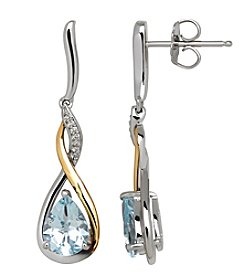 Sterling Silver And 14K Yellow Gold Aquamarine Earrings With 0.03 Ct. T.W. Diamond Accents